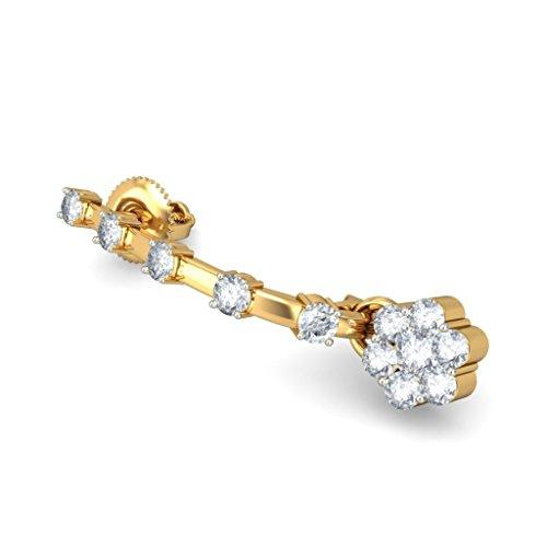 14K Or jaune 0,65CT TW White-diamond (IJ | SI) Boucles d'oreilles créoles