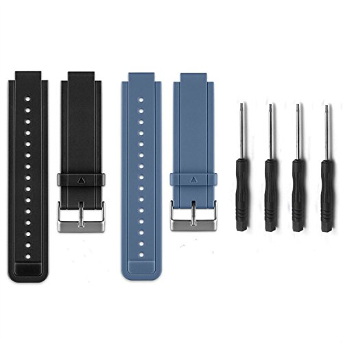 Allrun Newest Replacement Silicone Bands for Garmin Vivoactive (No tracker, Replacement Bands Only) (Black&Slate)
