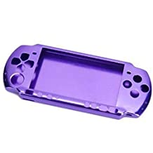 XFUNY® Case for PSP 3000, Aluminum Hard Protective Case Cover Shell Guard Protector Faceplate Decal Mod for Sony PSP 3000 Console (Purple)