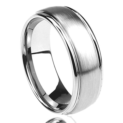 Prime Pristine 8MM Stainless Steel Mens Womens Rings Brushed Center Domed Comfort Fit Classy SZ: - Steel Brushed Stainless Ring