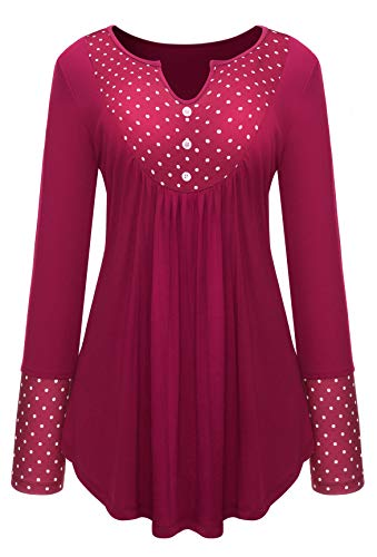 Rose Red Polka Dot Blouse Women Flowy Peasant Tunic Vintage Lady Shirt Henley (Blouse Angel)