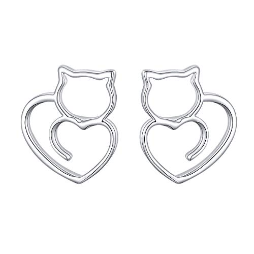 (Sterling Silver Cute Cat Heart Stud Earrings Cat Lover Gift for Women Girls)