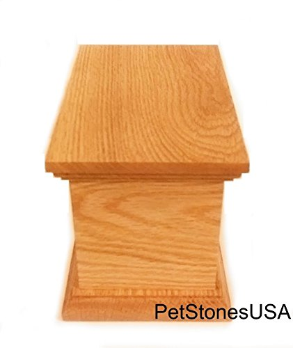Pet Cremation Urn Oak Wood Box Photo Memorial Granite Any Animal up to 65 Pounds Personalized Personalised by Pet Stones USA (Image #1)