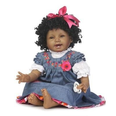 """Ethnic Biracial Reborn Baby Doll Black Skin Curly Black Hair 22"""" African American Newborn Baby for Toddler"""