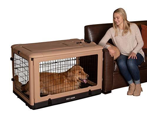 "Pet Gear ""The Other Door"" 4 Door Steel Crate with Comfort Pad + Travel Bag for Cats/Dogs, Sets up in Seconds No Tools Required, Built-In Handle/Wheels ()"