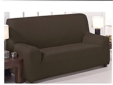 Funda de sofá elástica ajustable modelo mónaco de 3 plazas (180x240cm) disponible en 6 colores lisos (Café, 180x240)