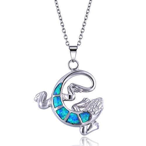 Blue Opal Gecko in Sterling ()