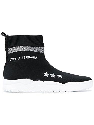 Polyester Ankle Ferragni Boots CF1948 Black Women's Chiara PvxIq