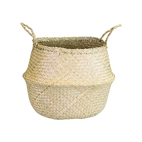 Natural Plush Woven Seagrass Tote Belly Basket Storage Laundry, Picnic, Plant Pot Cover Beach Bag (Seagrass Natural, Extra Large)