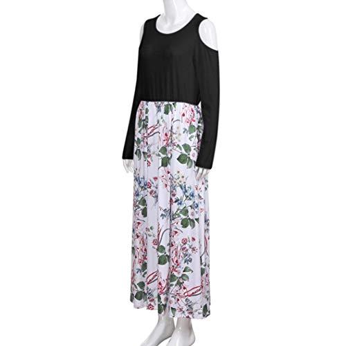 Blanc manches élégante à élégant Couleur Cold Print avec poche Shoulder Womens Taille M longues robe Fuxitoggo 4OzR0x0