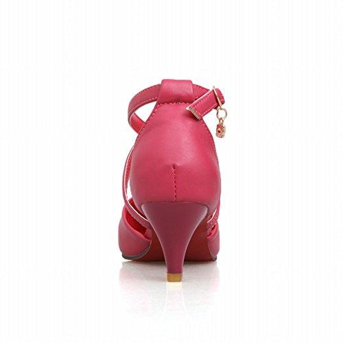Charolbar Charms Donna Moda Fibbia Ciondolo Strass Punta A Metà Tacco Latino Scarpe Da Ballo Sandali Rosa Rossa