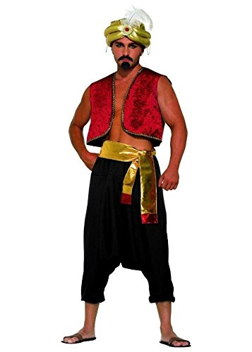 Mens Sultan Costumes (Black Desert Prince Adult Pants Aladdin Sultan Harem Genie Costume Accessory)