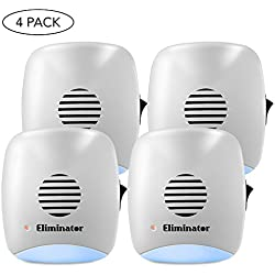 Eliminator Indoor Plug-in Powerful Ultrasonic Pest Repeller + Night Light - Pack of 4 - Eradicates All Types of Insects and Rodents