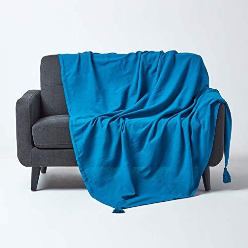 Homescapes Rajput - Cojín de algodón, diseño Cuadrado, Color Azul: Amazon.es: Hogar