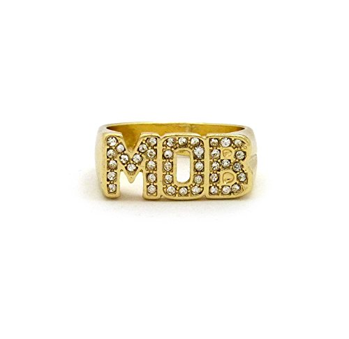 [Unisex Iced Out MOB Piece Size 8, 9 ,10 Hip Hop Ring in Gold Tone (10)] (Hip Hop Group Costumes)