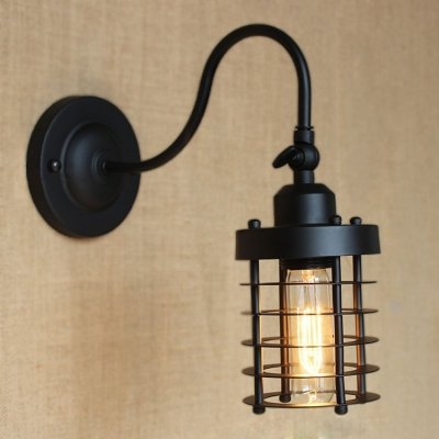 hua Adjustable Gooseneck Wall Sconce in Satin Black Finish with Cylinder Cage
