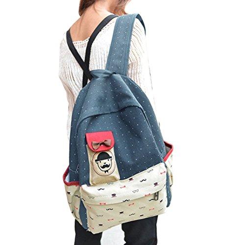 WINOMO Ragazze donne leggera tela scuola borsa zaino zaino Travel Bag Casual