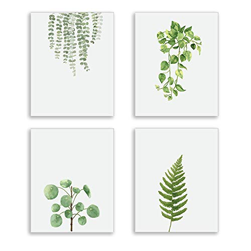 Modern Green Plant Series Wall Art Prints Watercolor Green Leaves Poster and Print Canvas Painting Wall Prints for Bed Room Living Room Home Kitchen Wall Art Decor (Set of 4) ()