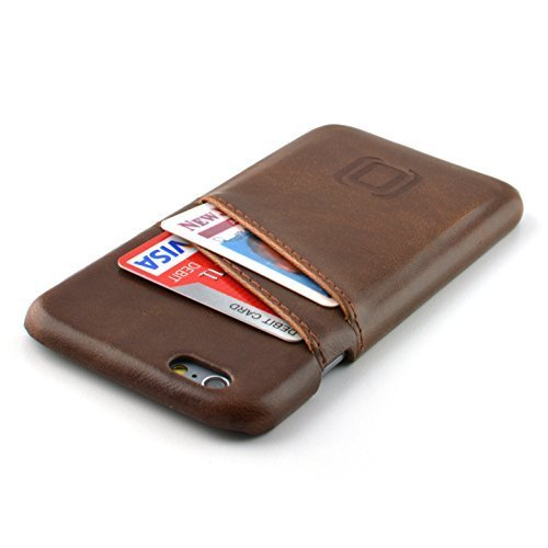 Dockem Card Case for iPhone 6S - Vintage Synthetic Leather Wallet Case, Ultra Slim Professional Executive Snap On Cover with 2 Card Holder Slots, Brown