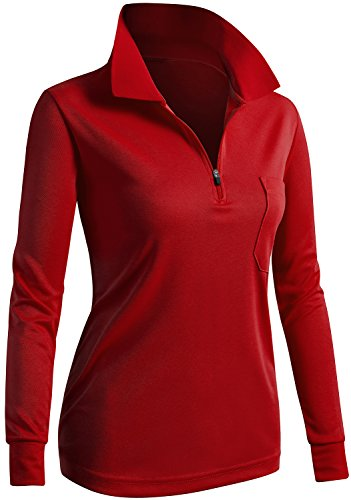 CLOVERY Golf Wear Moisture Wicking Long Sleeve Zipup Polo Shirt RED US...
