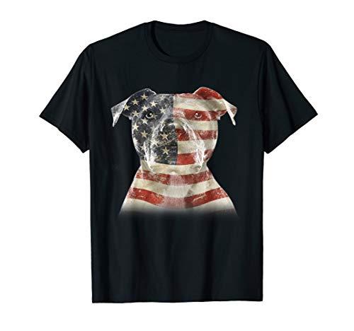 Funny Pitbull Patriotic 4th of July American Flag Gift T-Shirt ()
