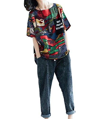 生態学債務者無謀DuWei (ドゥウェイ) レディース 半袖 綿麻 花柄 tシャツ 丸首 夏着 ナチュラル風 プルオーバー パーカー プリント きれいめ エレガント 民族風 トップス ゆったり 大きいサイズ カジュアル フォーマル