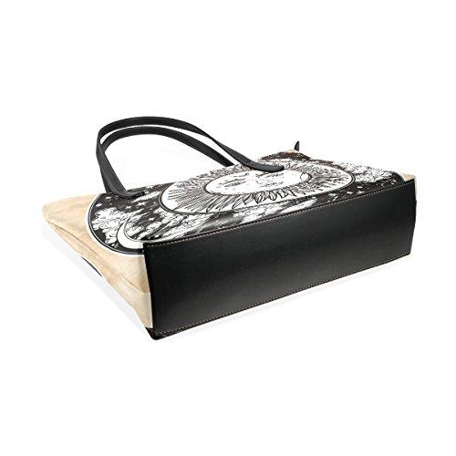 Moon TIZORAX Sky Night Women's Sun Fashion PU Inside Leather Top With Shoulder Round Handle Totes Handbag Purses Bags RrEXwqWr