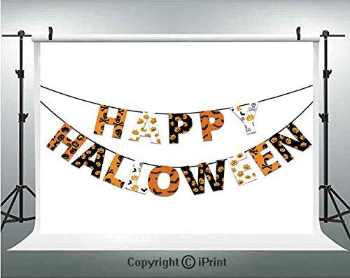 Halloween Photography Backdrops Happy Halloween Banner Greetings Pumpkins Skull Cross Bones Bats Pennant Decorative,Birthday Party Background Customized Microfiber Photo Studio Props,8x8ft,Orange Blac ()
