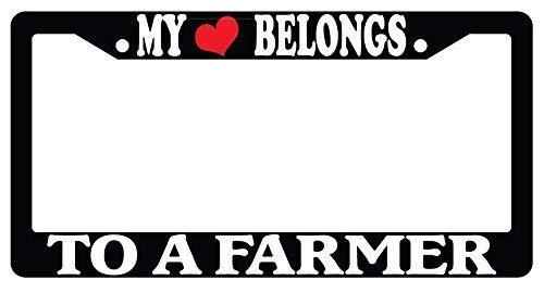 "Chrome License Plate Frame /""My Heart Belongs To A Farmer/"" Auto Accessory Novelty"