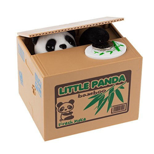 Battery Operated Panda Stealing Coin Saving Bank Box Piggy Bank for Kids Children Gift