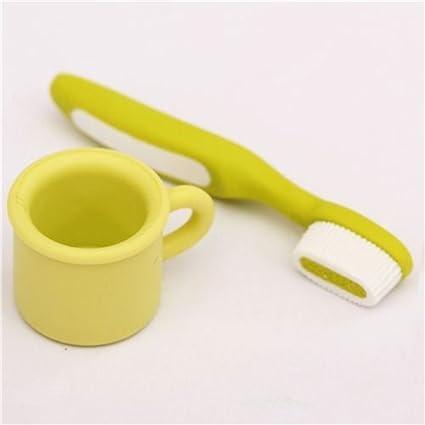 Gomas de borrar taza y cepillo de dientes verdes de Iwako Japón