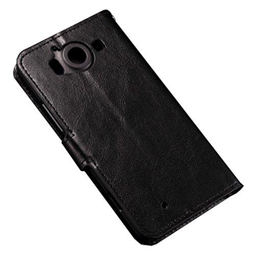Lumia 550 funda , Microsoft Lumia 550 funda , Lifetrut® [ negro ] [Caja de la carpeta] [Soporte Reportaje] premium PU Funda de cuero Cartera de cuero incorporado ranuras para tarjetas cubierta del tir