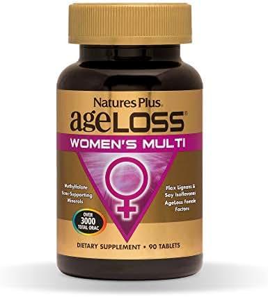 Natures Plus AgeLoss Womens Multi - 90 Tablets - Antiaging Multivitamin & Mineral Supplement, Menstrual & Menopausal Support, Antioxidant, Anti Inflammatory - Gluten Free - 30 Servings