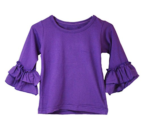Little Girls Top with Ruffle Sleeve - PURPLE 6-7T (Little Girl Boutique)
