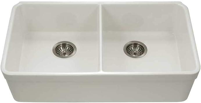 Houzer Ptu 3200 Bq Fireclay Kitchen Sink Biscuit Amazon Com