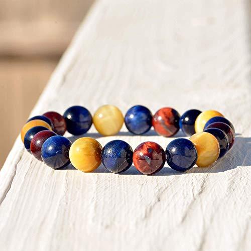 Tiger Eye stretch bracelet | Triple Tiger Eye Stone Bracelet | Birthday Gift | Gift for him | Gift for Dad | Gift for Her | Bracelet Pierre | Men Bracelet | Bracelets for Women Unisex - Blue Cat Agate