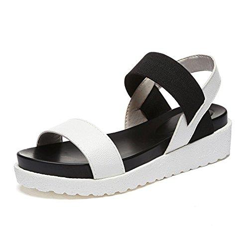 QXH Zapatos de Mujer Sandalias Boca Superficial Plana Cabeza Redonda Elástica Inferior White