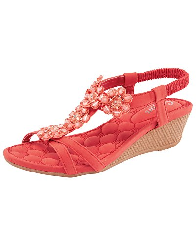 Cotton Traders Womens Ladies Adjustable Strap Jewel Wedge Comfort Heeled Sandals Summer Shoes E Fit Soft Coral xejA0J3V
