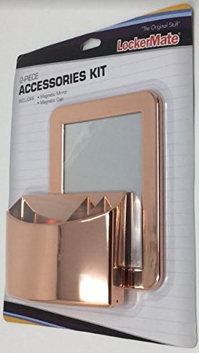 LockerMate 2-Piece Accessories Kit, Magnetic Mirror & Magnetic Cup, Rose Gold