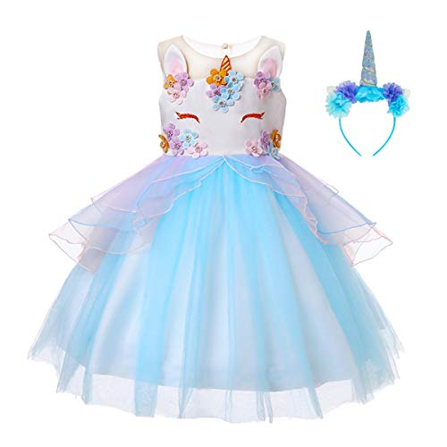 JiaDuo Girls Unicorn Dress Party Costume, Rainbow Tutu Train & Unicorn Headband (Blue, 90cm/1-2 Years)
