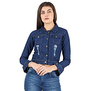 41roS2pLj0L. SS320 KING-DENIM Shree Kmt Enterprises Full Sleeves Comfort Fit Regular Collar Blue Jacket for Women…