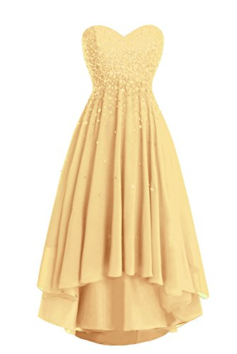 Party Women's Dress Beaded High Gold Low Prom Dasior Strapless TBdqwfYY