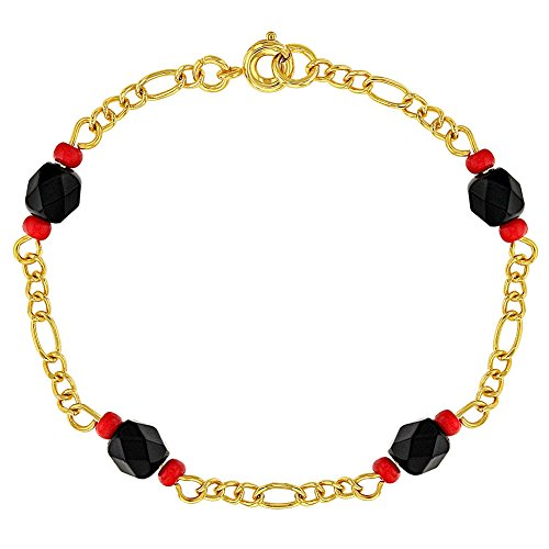 In Season Jewelry 18k Gold Plated Simulated Azabache Evil Eye Protection Children Bracelet 6