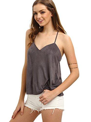 (Milumia Women Cami Tops Basic Shirts V Cut Boho Casual Blouses Brown)