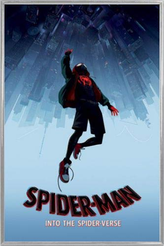 36 x 24 inches MDF Spiderman Poster and Frame - Into The Spider-Verse Fall