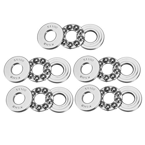 uxcell 51100 Single Direction Thrust Ball Bearings 10mm x 24mm x 9mm Chrome Steel (Pack of 5) (Thrust Ball)