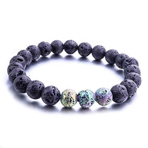 DUOJINZ 8Mm Lava Stone Beads Bracelet DIY Volcanic Aromatherapy Essential Oil Diffuser Bracelet for Women Men Jewelry