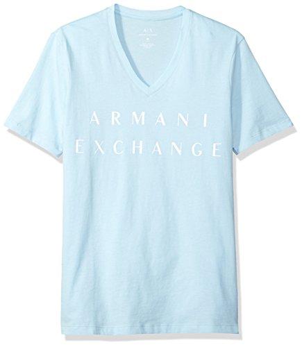 A|X Armani Exchange Men's Basic Logo V Neck Tee, Cool Blue, Medium