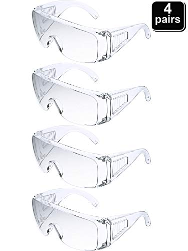 4 Pieces Polycarbonate Visitor Safety Glasses Clear Frame High Impact Safety Glasses Worker Bees Safety Glasses for Outdoor Construction Cycling Landscaping Architecture