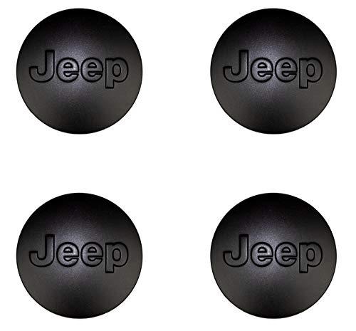 IPS Jeep Emblem 64mm Wheel Center Caps Hubcaps for Jeep Grand Cherokee/Jeep Wrangler Rubicon/Liberty 4 Pcs 2.52 Inch Emblem Matte Black Logo ()